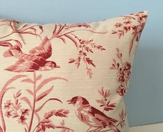 French country throw pillow. Red toile. French General Aviary