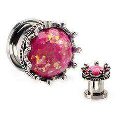 Pink Resin Opalish effect and Crown Edge Design Screw Fit Steel Plugs-Sold as a pair