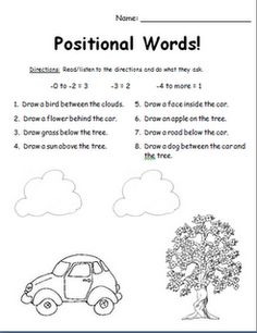 41 best K.G.A.1 Common Core (Positional Words) images on Pinterest ...