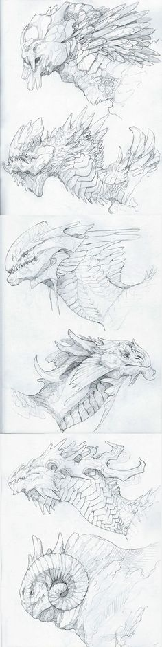 Here I have saved various dragon head drawings. These are bigger built dragons that live in different conditions. Some of these I could adapt to underground conditions. Creation Art, Monster Design, Dragon Art, Dragon Head Drawing, Dragon Horns, Dragon Drawings, Dragon Sketch, Creature Design, Creature Concept Art