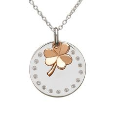 House Of Lor Sterling Silver/Rose Gold Hanging Shamrock Pendant & Chain Makers of the Authentic Claddagh Ring. Jewelry Shop, Silver Jewelry, Fine Jewelry, Silver Shamrock, Claddagh Rings, Celtic Rings, Irish Jewelry, Jewelry Companies, Silver Rounds