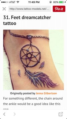 Cute and simple dreamcatcher foot tattoo with an anklet