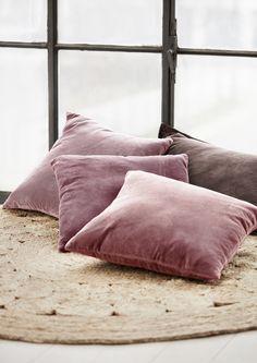 Favourite pile of soft velvet cushions. Find them at Molly Marais. Molly Marais.