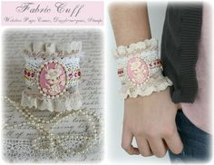 Fabric Cuff made by design team member Gabrielle Pollacco using WP Cameo's, Dazzle-Me-Gems and WP Unity Stamps.