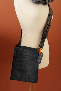UPCYCLED Jean MESSENGER  Bag Men's Jean Bag iPad by Annas7Closet