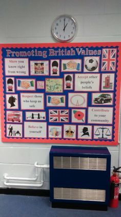 "Entrance display to promote British values within our school community through ""typically British"" images, child friendly principles and qr code linking to our school policy."