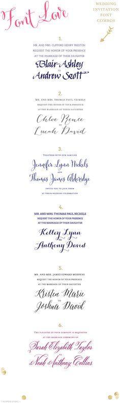 D.I.Y. Wedding Invitations font combos | Mospens Studio