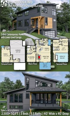 Contemporary Modern House Plan 280094JWD gives you 2,500+ square feet of living space with 3 bedrooms and 3.5 baths. ADHousePlans #280094JWD #adhouseplans #architecturaldesigns #houseplans #homeplans #floorplans #homeplan #floorplan #floorplans #houseplan Dream House Plans, Modern House Plans, Small House Plans, Movie Rooms, Tv Rooms, Game Rooms, Media Room Design, Modern Contemporary Homes, Home Movies