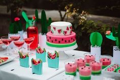 Sweets and sips table from this Watermelon Birthday Party at Kara's Party Ideas… Watermelon Wedding, Watermelon Birthday Parties, Fruit Birthday, Fruit Party, Summer Birthday, Watermelon Dessert, Watermelon Jello, Watermelon Ideas, Baby Girl First Birthday