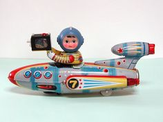 Universe Televiboat, aka Televideo Rocket (1970) Tin Toy | Vintage and Retro Space Age Raygun, Rocket and Robot Toys | Sugary.Sweet | #SpaceAge #Toy #RocketShip #SpaceShip #SciFi