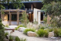 Photograph portfolio of native gardens and landscapes designed and built by Australian Landscape designer Sam Cox. Photograph portfolio of native gardens and landscapes designed and built by Australian Landscape designer Sam Cox. Coastal Landscaping, Farmhouse Landscaping, Modern Landscaping, Front Yard Landscaping, Landscaping Ideas, Gravel Landscaping, Modern Landscape Design, House Landscape, Landscape Plans