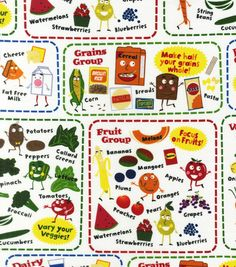 Novelty Quilt Fabric-Know Your Food