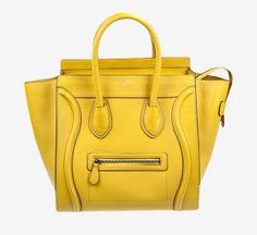 Celine Okra Yellow Mini Luggage Handbag