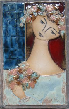 """Bride With Flowers"" by Ruth Faktor - The Ceramic Relief Tiles of Israeli."