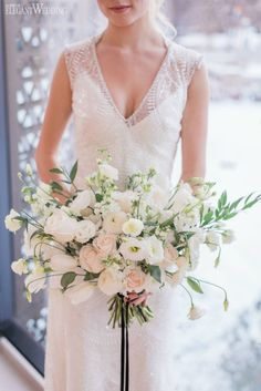 White and Green Bouquet, Greenery Bouquets, Greenery Wedding Bouquet, White and Greenery Bridal Bouquet | Glam New Year's Eve Wedding Ideas | ElegantWedding.ca