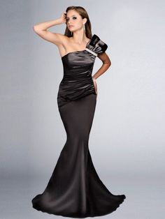 2014 Style Trumpet/Mermaid One Shoulder Beading Sleeveless Floor-length Elastic Woven Satin Prom Dresses/Eveni