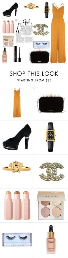 """""""jumpsuit's"""" by rayanalqattan ❤ liked on Polyvore featuring River Island, Miu Miu, Chanel, Fendi, Versace, Whiteley, Sephora Collection, Eloise and Lancôme"""