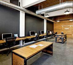 Rolling tables, black chalk board walls, open ceiling