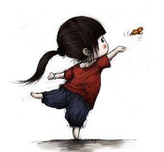 Mùa xuân mặc cho con gái bộ quần áo mới, đưa con đến vùng ngoại ô vui đùa bắt bướm.