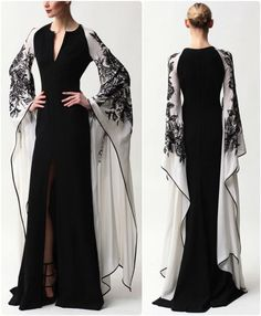 Evening Dresses 2017 New Design A-line White And Black V-Neck Sleeveless Backless Tea-length Sashes Party Eveing Dress Prom Dresses 2017 High Quality Dress Fuchsi China Dress Up Plain Dres Cheap Dresses Georgette Online Beautiful Gowns, Beautiful Outfits, Evening Dresses, Formal Dresses, Elegant Evening Gowns, Designer Evening Gowns, Fantasy Dress, Mode Hijab, Mode Inspiration