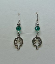 Handmade Tree of Life Earrings with Green and Silver Rondell bead-Unique-One of a Kind-Silver-Pierced Earring-Affordable Jewelry-Pretty