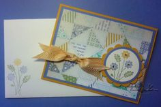 STAMPIN' UP! CHICKSTAMPER--'EMBELLISHED EVENTS' ALL OCCASIONS DAHLIAS! Embellished Events Stamp Set. Afternoon Picnic Designer Paper with Crushed Curry Chevron Ribbon. Click on pictures to see all supplies & dimensions! :)