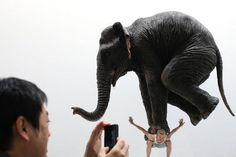"""Un hombre fotografía la escultura titulada """"Pentateuco"""", realizada por el artista francés Fabien Merelle, que se expone en la Plataforma de Arte de Singapur 2013."""