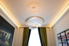 Ceiling roses can be used in both traditional and modern settings. This image is example of that where rose has been fitted along with modern LED uplighting coving. Visit our online shop for full range of ceiling roses. Fast UK wide delivery available. Ceiling Rose, Ceiling Tiles, Ceiling Decor, Ceiling Design, Ceiling Lights, Cove Lighting, Indirect Lighting, Unique Lighting, Cornice Moulding