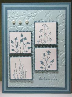 Stamps: Pocket Silhouettes Paper: Blue Bayou, Baja Breeze, Soft Sky, White Ink: Blue Bayou Accessories: Big Shot, Embossing Folder, Nestibilities, Dimensionals, Pearl Stickers Techniques: Stamping, Embossing