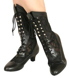 3dae0984f5 Victorian Ladies Black Faux Leather Solid,Lacy Boots | Dickens | Downton  Abbey | Edwardian