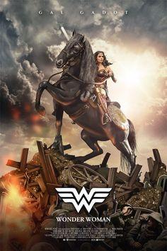 Wonder Woman by Alberto Reyes Francos - Home of the Alternative Movie Poster -AMP- Wonder Woman Pictures, Wonder Woman Art, Gal Gadot Wonder Woman, Marvel Dc, Captain Marvel, Superhero Poster, Superhero Movies, Female Superhero, Amazonian Warrior