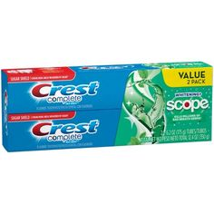 Crest Complete Whitening plus Scope Multi-Benefit Fluoride Toothpaste, Minty Fresh, Oz Crest Whitening, Teeth Whitening, Flavored Toothpaste, Toothpaste Brands, Benefit, Medical Help, Personal Hygiene, Bad Breath, Ideas