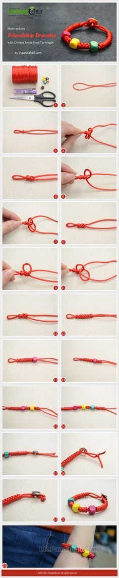 Make an Easy Friendship Bracelet with Chinese Snake Knot Technique