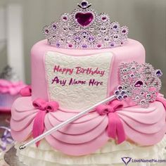 Create Pretty Girl Crown Princess Birthday Cake with name photo on best online generator with editing options and send happy birthday wishes. Birthday Cake Write Name, Sweet Birthday Cake, Happy Birthday Cake Photo, Birthday Cake Writing, Happy Birthday Wishes Cake, Birthday Wishes For Kids, Happy Birthday Princess, Cake Name, Beautiful Birthday Cakes