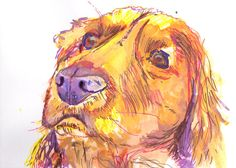 Golden Retriever Dog Poster Print Artist Signed Yellow Canine Art Golden retriever gift idea by OjsDogPaintings: 13.63 GBP… #dogs #etsy #art