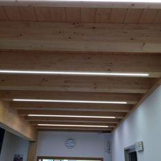 Linear Lighting, Lighting Design, Led Light Design, Line Light, Light Effect, Hostel, Terrazzo, Shed, House Design