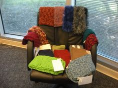 """Scarves ready to send to """"Operation Gratitude"""" - sending care packages to active service men and women around the world.  November 2012"""
