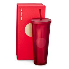 A 24-fl oz acrylic Cold Cup in red with a light-catching design and subtle dot on the front. Part of our Dot Collection.