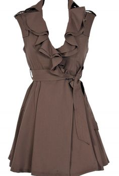 Ruffle Collar Belted Waist Dress in Coffee  www.lilyboutique.com