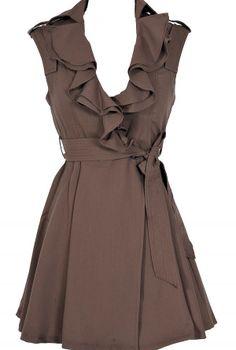 Brown Ruffle Collar Dress