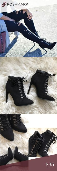 """Black Faux Suede Lace Up Pointed Ankle Booties Only worn once, in excellent condition, very minor wear. Lace up styling with silver loop buckling. Faux leather at top of boot, pointed toe, faux suede material. Heel height 4.5"""" ❌NO TRADES OR PAYPAL❌ Forever 21 Shoes Lace Up Boots"""