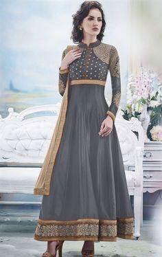 Picture of Alluring Gray Designer Anarkali Salwar Kameez