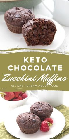 Stop and drop whatever you are doing. Grab some zucchini and make these awesome Keto Double Chocolate Zucchini Muffins! Low Calorie Desserts, Low Carb Sweets, Low Carb Recipes, Stevia Recipes, Keto Desserts, Double Chocolate Zucchini Muffins, Keto Muffin Recipe, Low Carb Cupcakes, Keto Cake