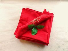 Red Cloth Napkins- Set of 8- Holiday Tea Napkins- Vintage Christmas Table Linens-Textiles-Cheery Red Fabric Napkins by OrphanedTreasure on Etsy