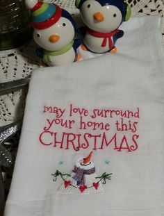 Embroidered Tea Towel Snowman by LavenderLakeDesign on Etsy