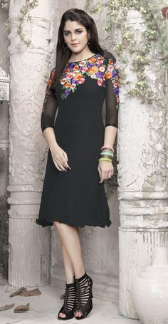 Black with multi colored flower embroidery work #designer #georgette #kurti