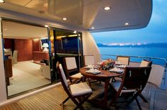 Dinner on a private yacht.