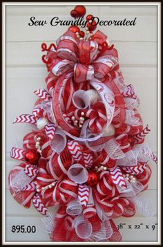 Red and White Deco Mesh Christmas Tree by SewGrandlyDecorated, $95.00
