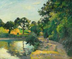 Camille Pissarro - L'étang au soleil couchant, Montfoucault, 1874. Oil on canvas, 53.5 x 65.5 cm (21 x 25 3/4 in.).