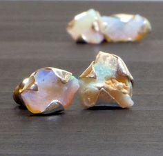 Australian Opal studs Raw Opal studs Opal jewelry Dainty earrings Natural Opal studs Dainty Opal earrings Raw stone studs Crystal studs by MyPerception on Etsy https://www.etsy.com/listing/240709816/australian-opal-studs-raw-opal-studs
